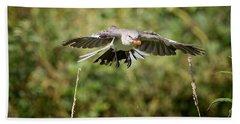 Mockingbird In Flight Beach Towel by Bill Wakeley