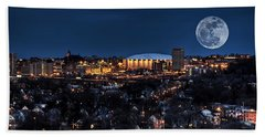 Moon Over The Carrier Dome Beach Sheet by Everet Regal