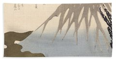 Mount Fuji Under The Snow Beach Towel by Toyota Hokkei