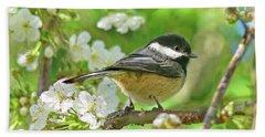 My Little Chickadee In The Cherry Tree Beach Sheet by Jennie Marie Schell