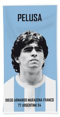 My Maradona Soccer Legend Poster Beach Towel by Chungkong Art