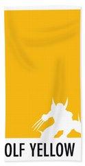 My Superhero 05 Wolf Yellow Minimal Poster Beach Towel by Chungkong Art
