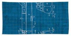 Nasa Space Shuttle Vintage Patent Diagram Blueprint Beach Towel by Design Turnpike