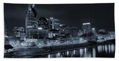 Nashville Skyline At Night Beach Towel by Dan Sproul
