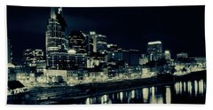 Nashville Skyline Reflected At Night Beach Sheet by Dan Sproul