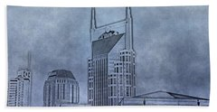 Nashville Skyline Sketch Beach Sheet by Dan Sproul