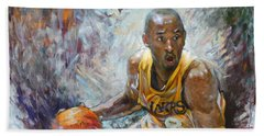 Nba Lakers Kobe Black Mamba Beach Towel by Ylli Haruni