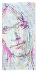 Neil Young - Colored Pens Portrait Beach Towel by Fabrizio Cassetta