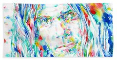 Neil Young - Watercolor Portrait Beach Towel by Fabrizio Cassetta