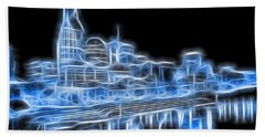 Neon Nashville Skyline Beach Sheet by Dan Sproul