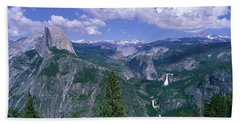 Nevada Fall And Half Dome, Yosemite Beach Sheet by Panoramic Images