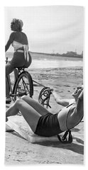 New Sport Of Ice Planing Beach Towel by Underwood Archives
