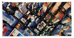 New York City Sky View Beach Towel by Mona Edulesco