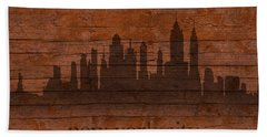 New York City Skyline Silhouette Distressed On Worn Peeling Wood Beach Sheet by Design Turnpike