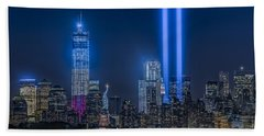 New York City Tribute In Lights Beach Towel by Susan Candelario