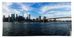 New York Skyline - Color Beach Towel by Nicklas Gustafsson