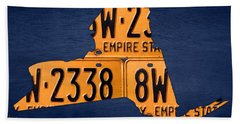New York State License Plate Map Beach Towel by Design Turnpike