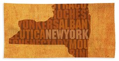 New York Word Art State Map On Canvas Beach Sheet by Design Turnpike