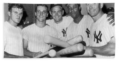 New York Yankee Sluggers Beach Towel by Underwood Archives