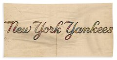 New York Yankees Logo Vintage Beach Sheet by Florian Rodarte