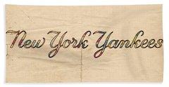 New York Yankees Logo Vintage Beach Towel by Florian Rodarte