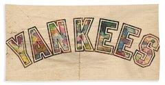 New York Yankees Poster Art Beach Towel by Florian Rodarte