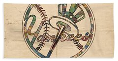 New York Yankees Poster Vintage Beach Sheet by Florian Rodarte
