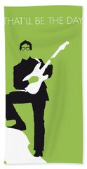 No056 My Buddy Holly Minimal Music Poster Beach Sheet by Chungkong Art