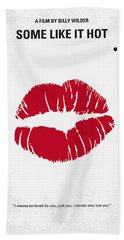 No116 My Some Like It Hot Minimal Movie Poster Beach Towel by Chungkong Art