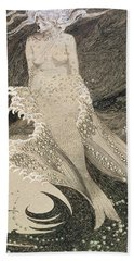 The Mermaid Beach Towel by Sidney Herbert Sime