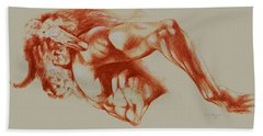 North American Minotaur Red Sketch Beach Towel by Derrick Higgins