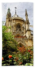 Notre Dame De Paris Beach Towel by Elena Elisseeva