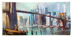 Ny City Brooklyn Bridge II Beach Towel by Ylli Haruni