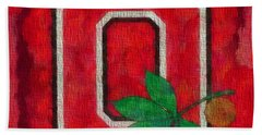Ohio State Buckeyes On Canvas Beach Towel by Dan Sproul