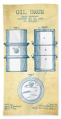 Oil Drum Patent Drawing From 1905 - Vintage Paper Beach Towel by Aged Pixel