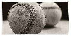 Old Baseballs Beach Sheet by Edward Fielding