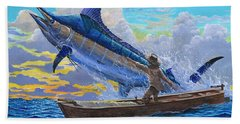 Old Man's Battle Off00133 Beach Towel by Carey Chen