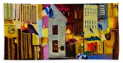 Beach Towel featuring the painting Old Towne Quebec by Rodney Campbell