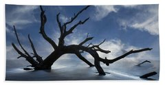 On A Misty Morning Beach Towel by Debra and Dave Vanderlaan