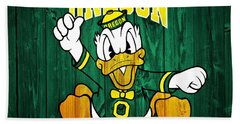 Oregon Ducks Barn Door Beach Towel by Dan Sproul