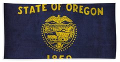 Oregon State Flag Art On Worn Canvas Beach Sheet by Design Turnpike