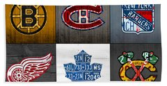 Original Six Hockey Team Retro Logo Vintage Recycled License Plate Art Beach Towel by Design Turnpike