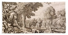 Otter Hunting By A River, Engraved Beach Towel by Francis Barlow