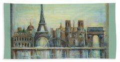 Paris Highlights Beach Sheet by Marilyn Dunlap