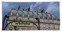 Paris Metropolitain Sign At The Paris Hotel Du Louvre Metropolitain Sign Art Noueveau Art Deco Beach Towel by Kathy Fornal