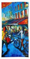 Parisian Cafe Beach Towel by Mona Edulesco