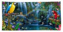 Parrot Tropics Beach Towel by Alixandra Mullins