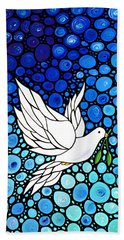 Peaceful Journey - White Dove Peace Art Beach Sheet by Sharon Cummings