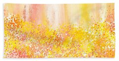 Peach And Yellow Garden- Peach And Yellow Art Beach Sheet by Lourry Legarde