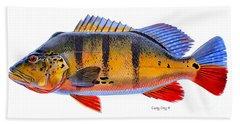 Peacock Bass Beach Sheet by Carey Chen